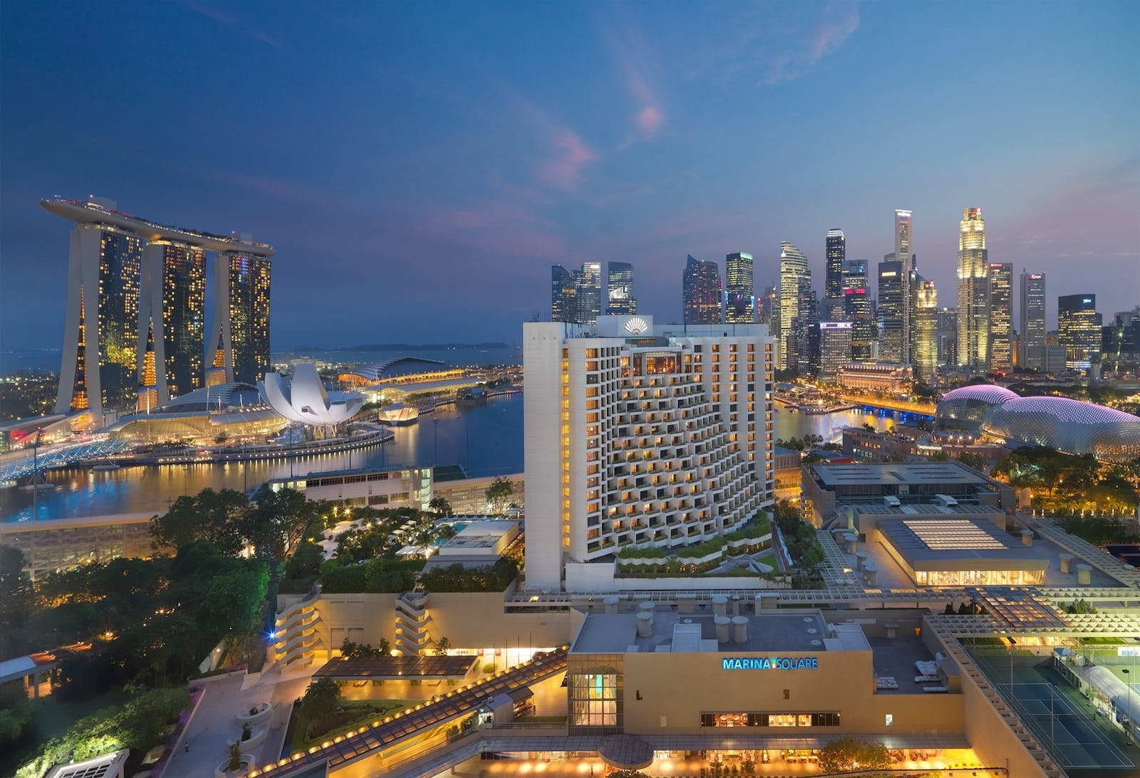 Aerial view of Mandarin Oriental, Singapore, Asia