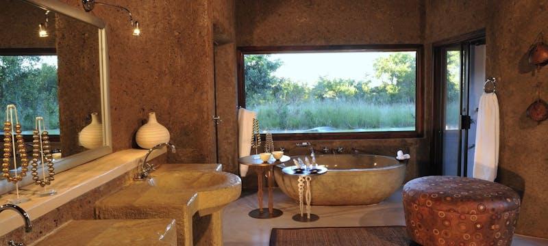 Bathroom in presidential suite at Sabi Sabi Earth Lodge, South Africa