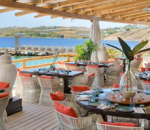 Buddha bar on the beach at Santa Marina, Mykonos