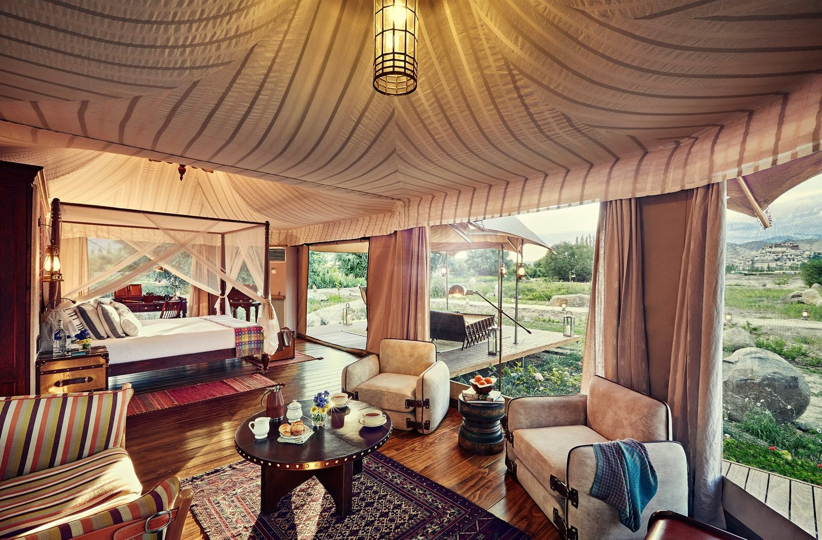 presidential suite tent at the ultimate travelling camp - chamba camp thiksey