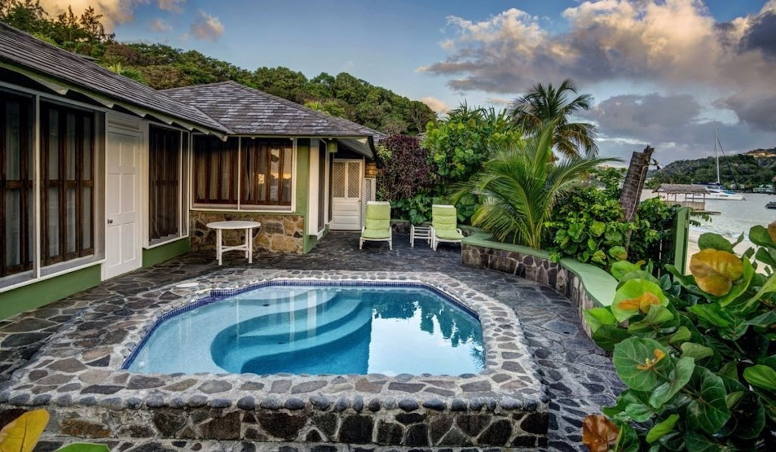 Luxury Cottage Plunge Pool at Young Island, St. Vincent & The Grenadines, Caribbean