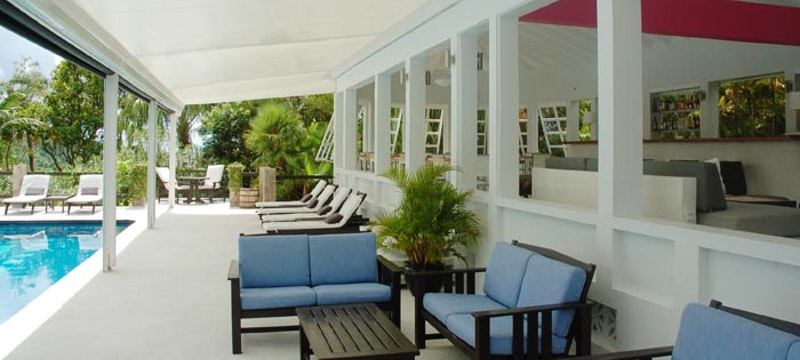 Pool side terrace at Montpelier Plantation & Beach