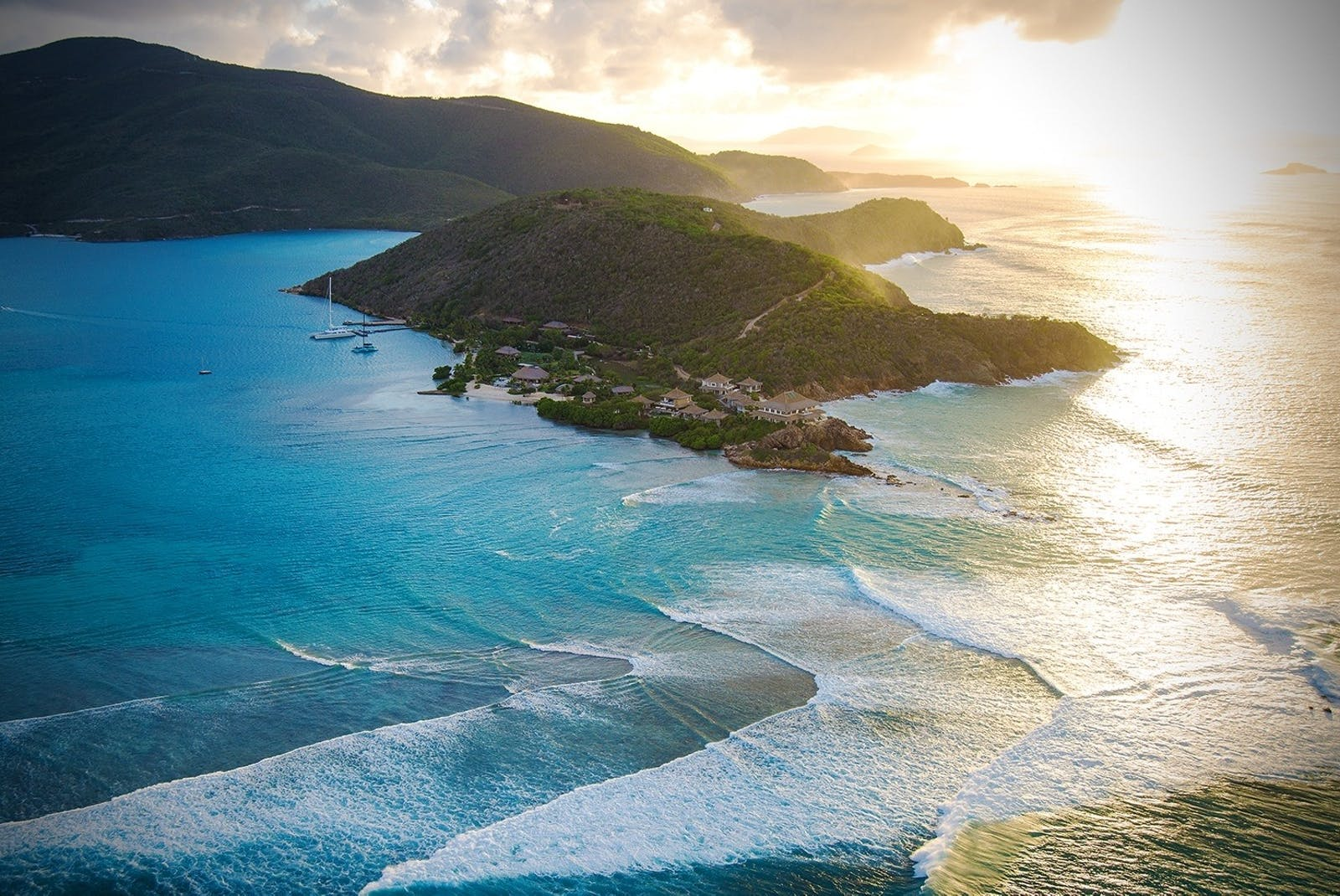 Aerial view of Moskito Island, Virgin Limited Edition, British Virgin Islands