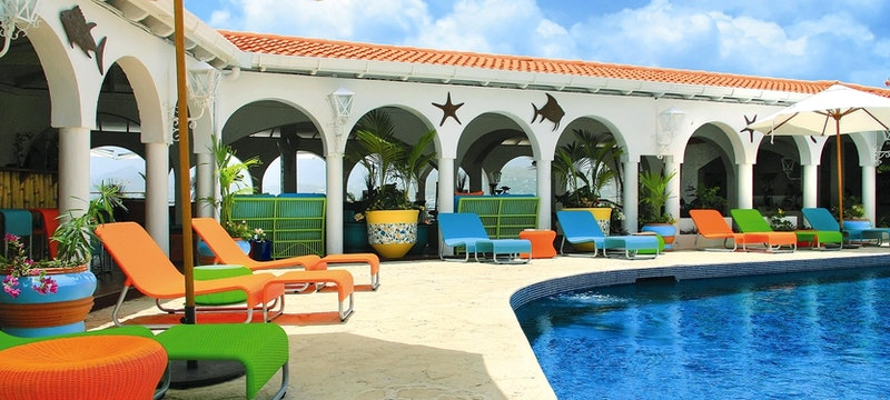 Savvy's clubhouse pool area at Mount Cinnamon Resort & Beach Club, Grenada