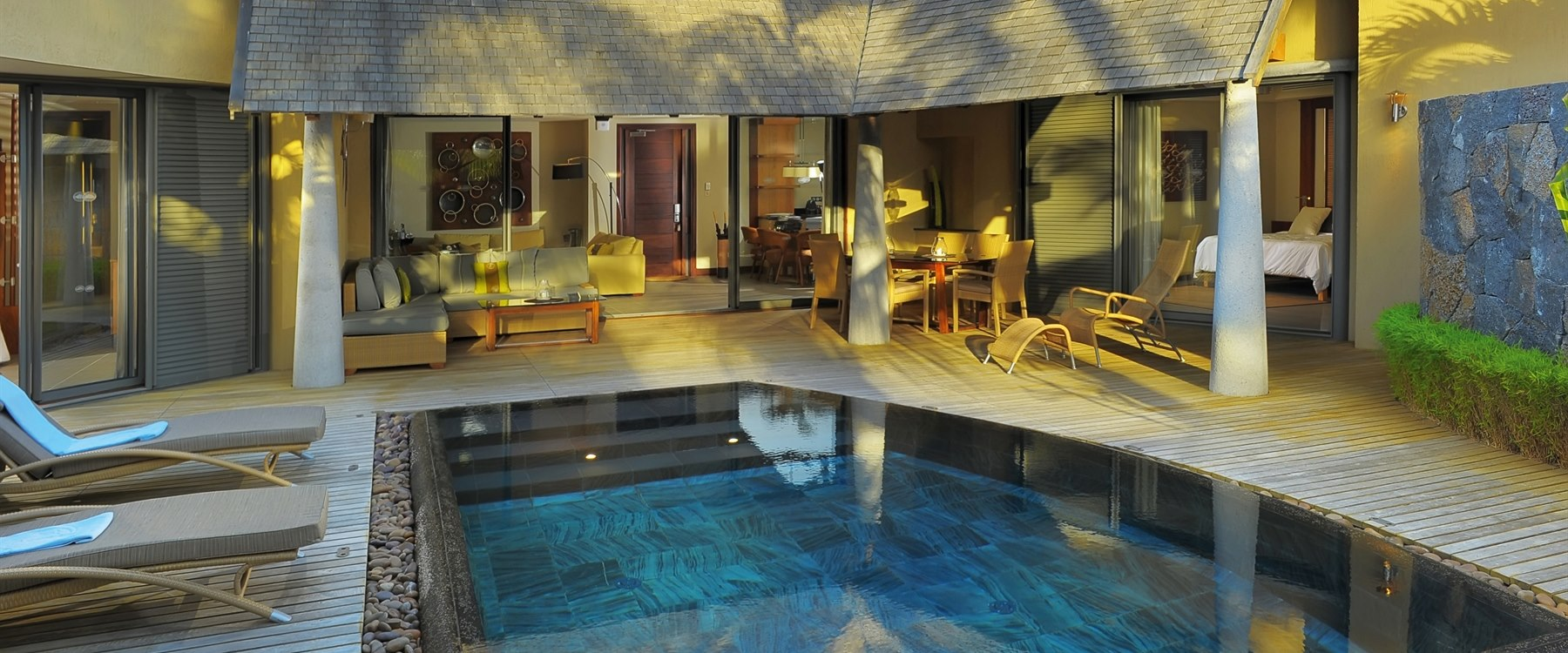 Private villa swimming pool at Trou Aux Biches Beachcomber Golf Resort & Spa, Mauritius