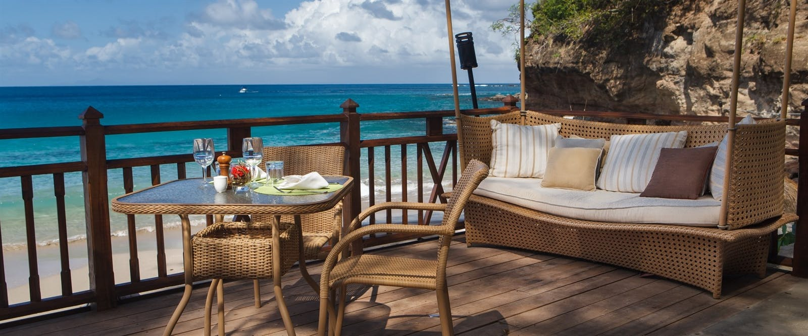 Naked Fisherman deck, Cap Maison, St Lucia