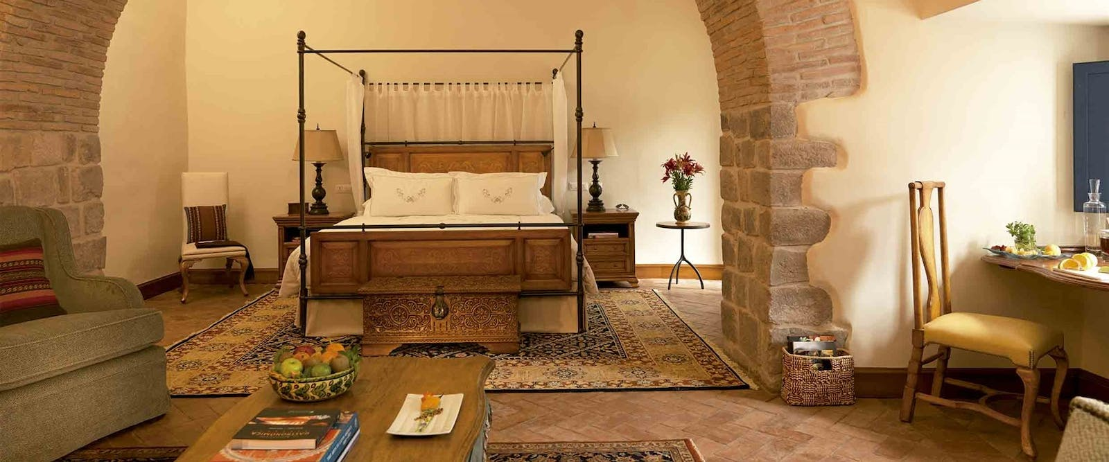 Beautiful bedroom at Palacio Nazarenas, A Belmond Hotel, Cusco