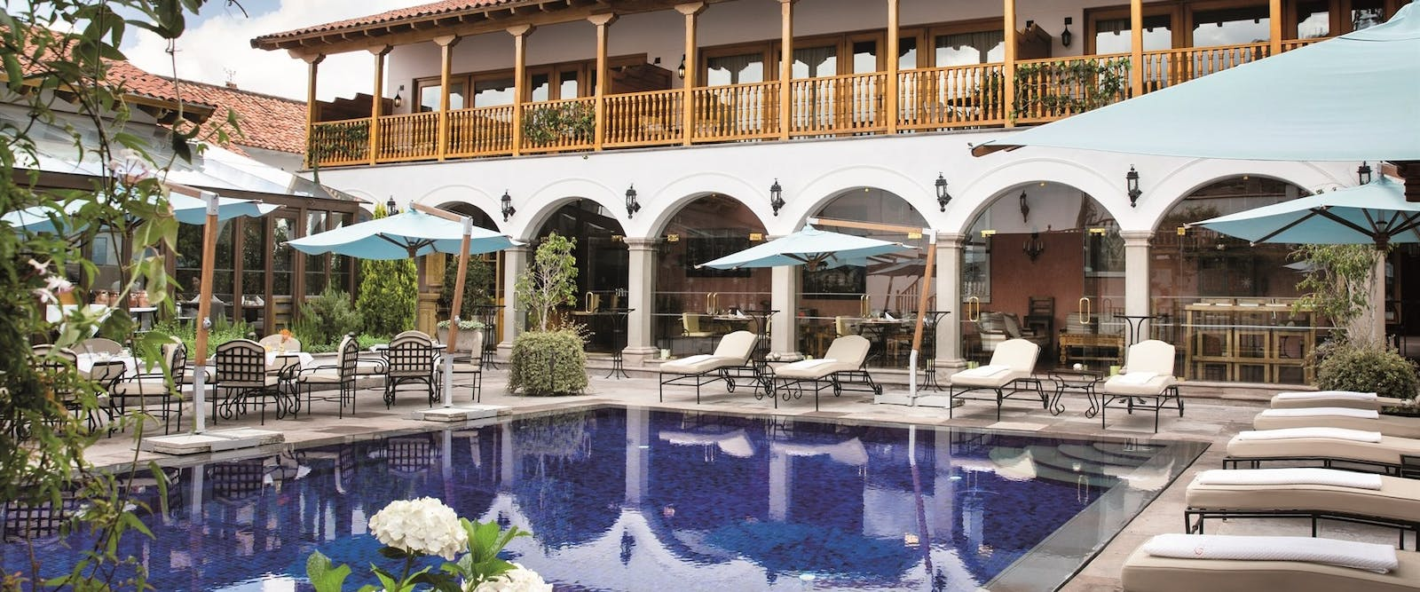 Swimming pool area at Palacio Nazarenas, A Belmond Hotel, Cusco