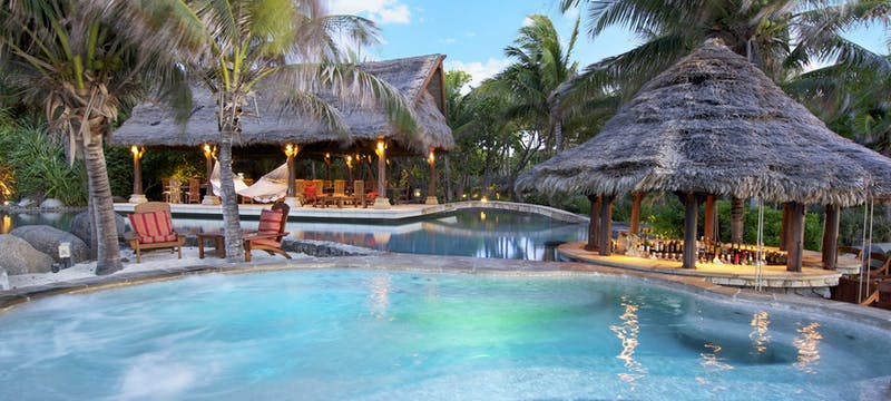 Jazuzzi and pool area at Necker Island, British Virgin Islands