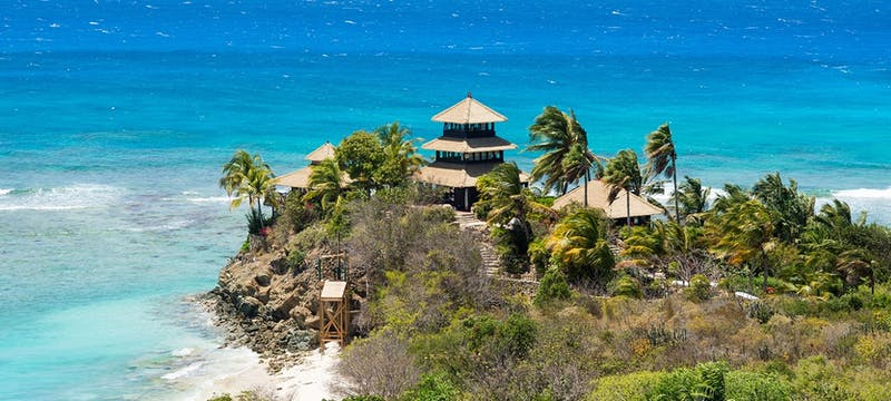 Aerial view of Bali House at Necker Island, British Virgin Islands