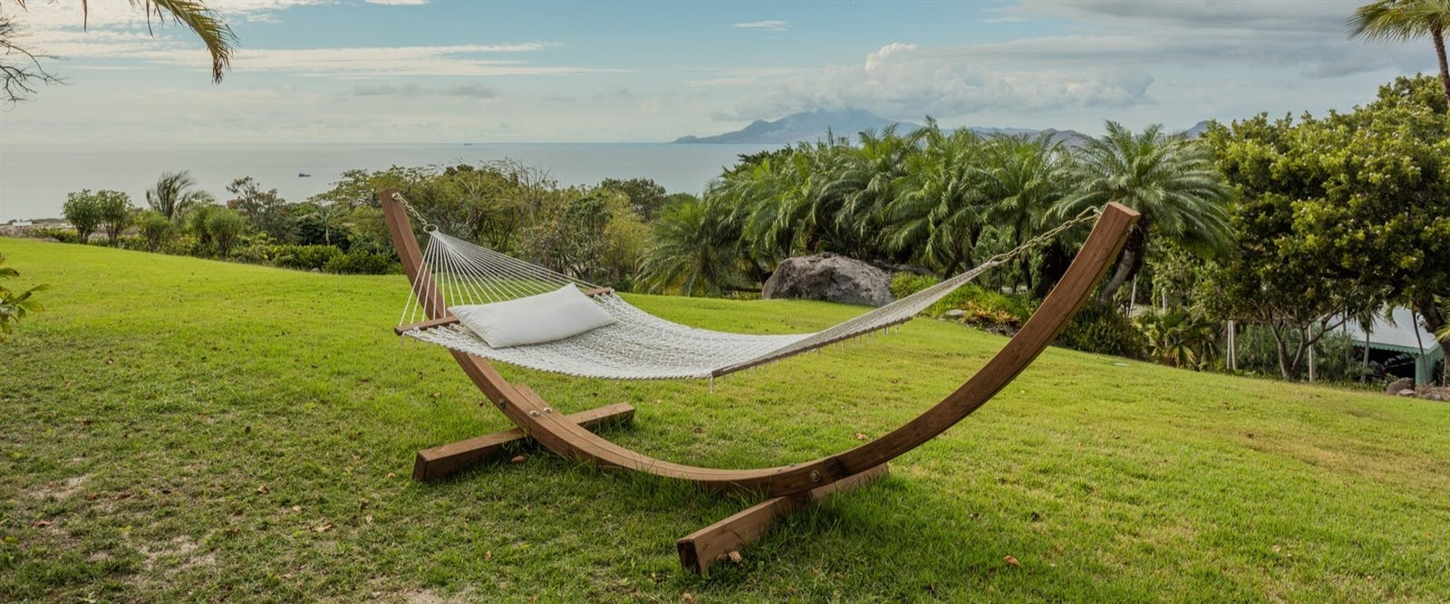 Relaxing on a hammock at Four Seasons Resort Nevis