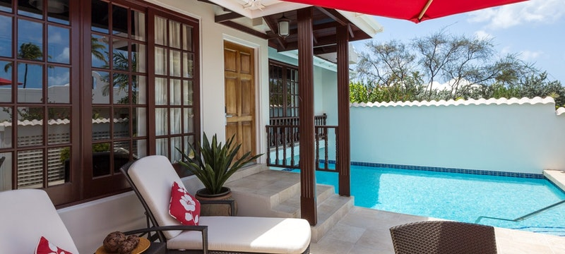 Private patio area in Royal Collection Pool Suite at Spice Island Beach Resort, Grenada