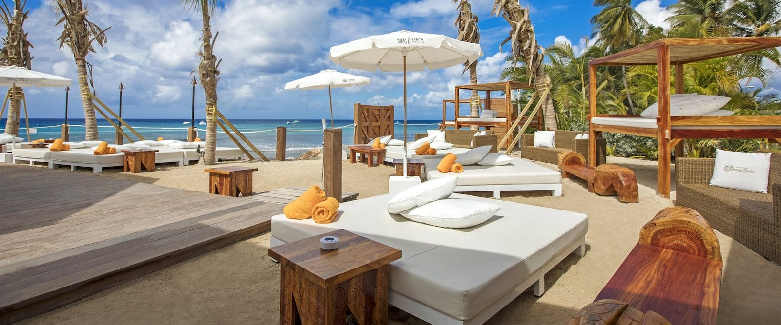 Sun Loungers at Nikki Beach at Port Ferdinand Marina & Luxury Residences, Barbados