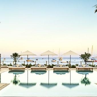 pool and dining area at nobu hotel ibiza bay