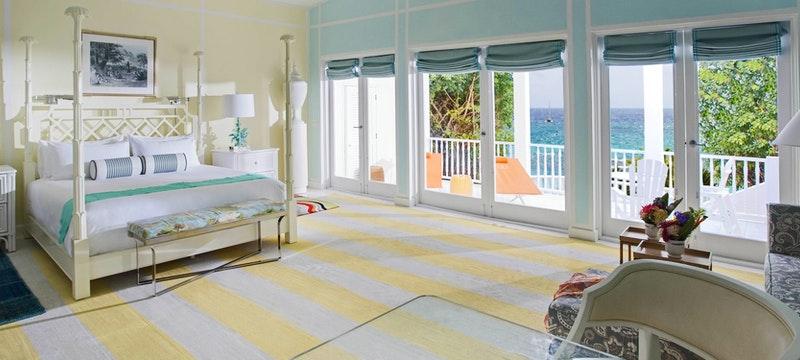 An ocean view junior suite at Malliouhana