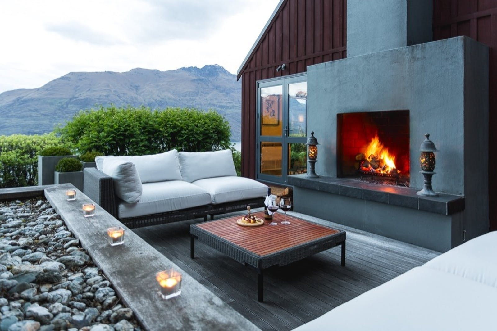 outdoor seating at azur lodge, Queenstown, South Island, New Zealand