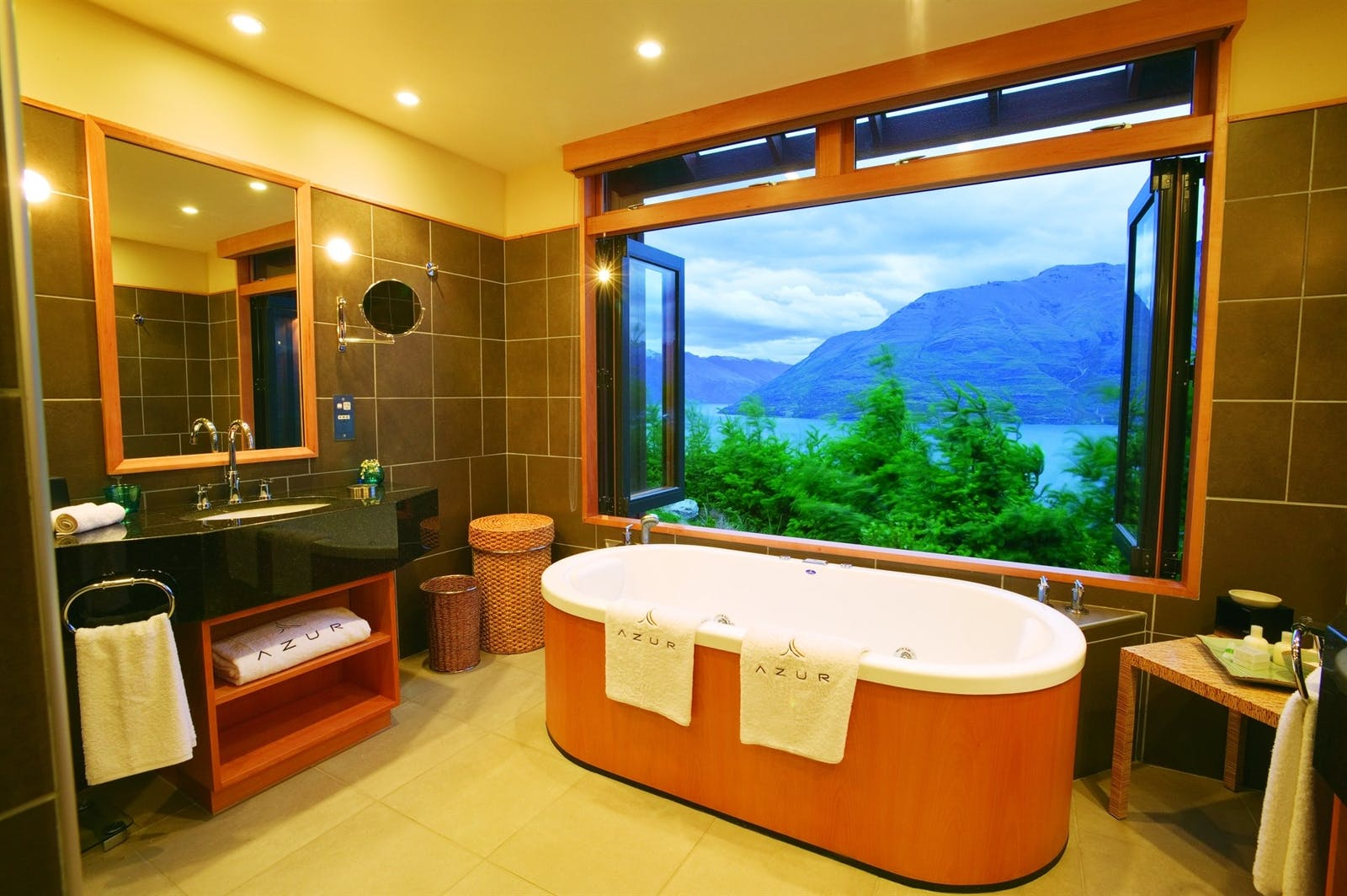 bathroom with a view at azur lodge, Queenstown, South Island, New Zealand