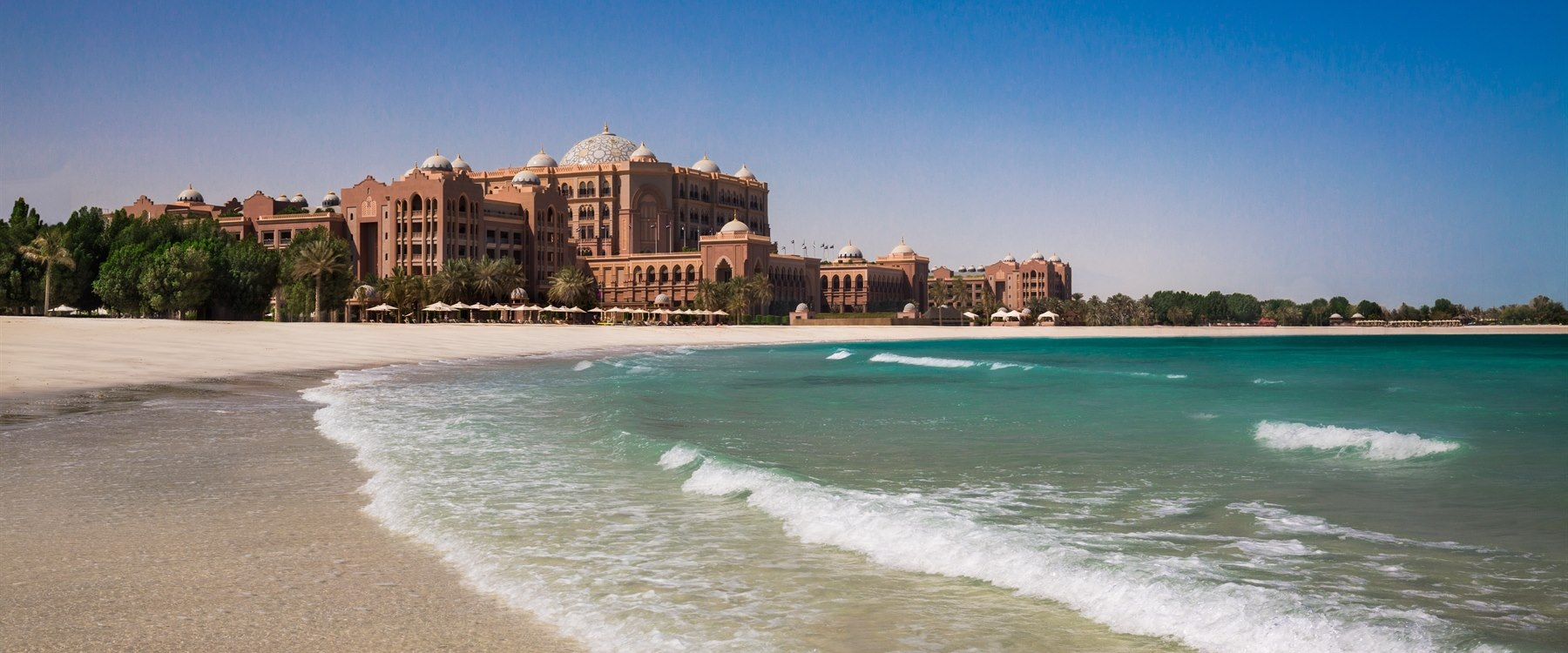 Palace exterior beach view at Emirates Palace, Abu Dhabi