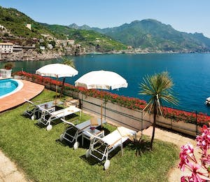 swimming pool over looking the sea at palazzo avino