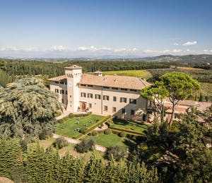Aerial View of Castello del Nero, Tuscany, Italy