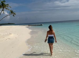 Holly on the beach, Maldives, Indian Ocean