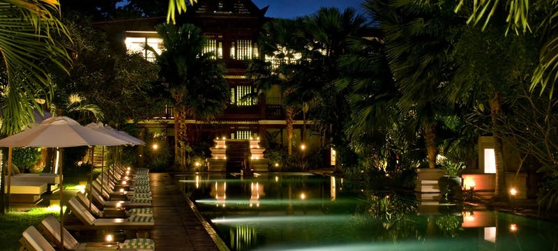 Pool at night at Belmond La Résidence d'Angkor