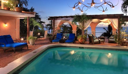 Pool Deck at Twilight at Little Arches Boutique Hotel, Barbados