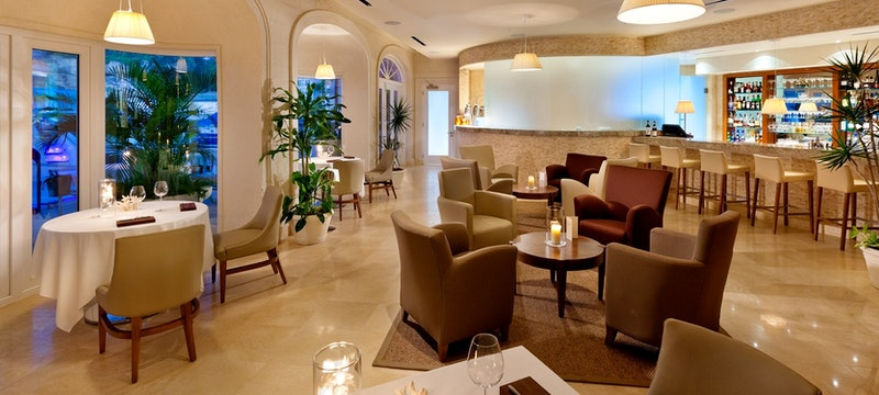 Beautiful interior of restaurant at Port Ferdinand Marina and Luxury Residences, Barbados