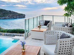 Terrace at Jumeirah Port Soller Hotel & Spa, Mallorca, Spain