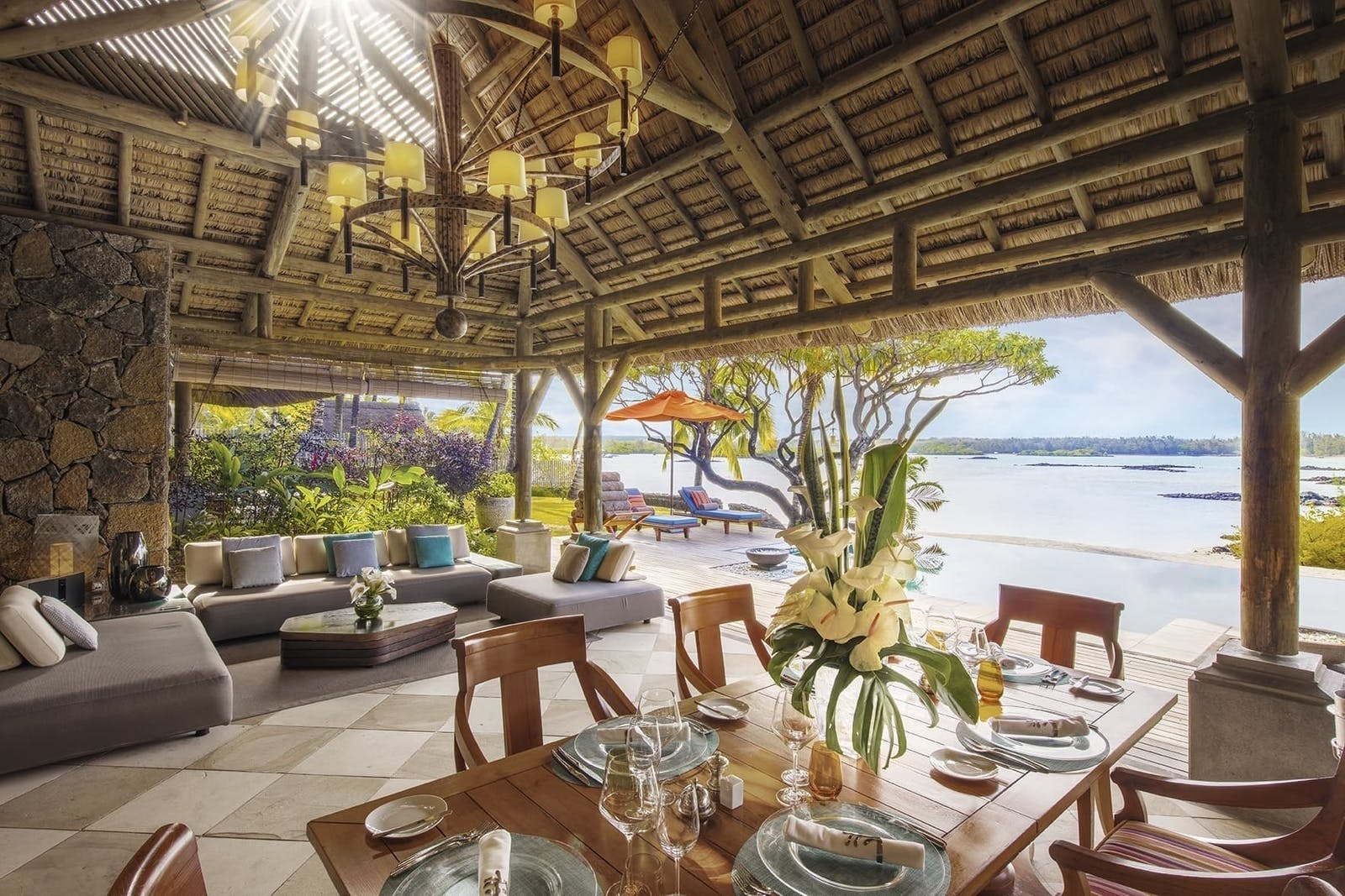 Prince Suite outdoor dining at Constance Prince Maurice Mauritius