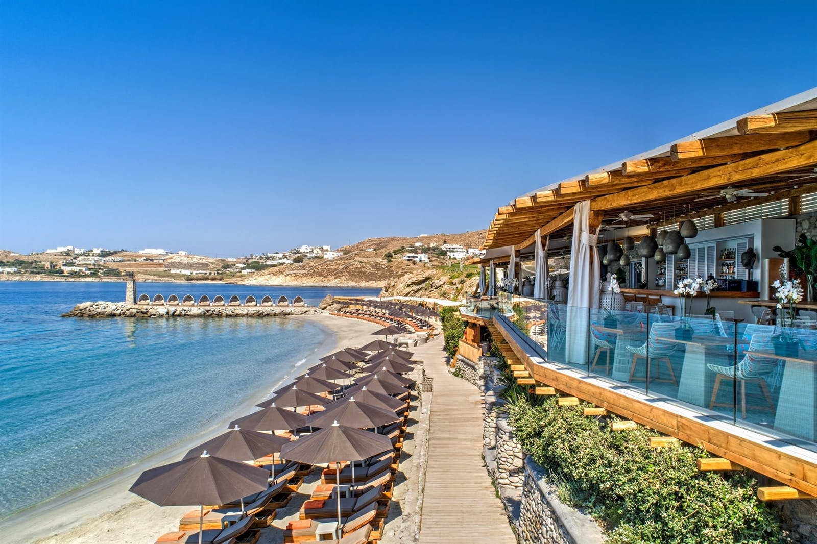 Private beach area at Santa Marina, A Luxury Collection Resort, Mykonos