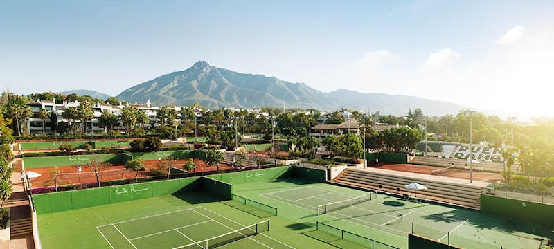 The most famous tennis courts in Marbella at the Puente Romano Beach Resort and Spa