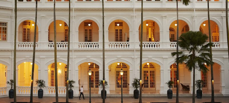 Palm court in the evening at Raffles, Singapore