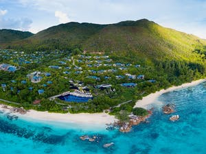 aerial view of raffles seychelles