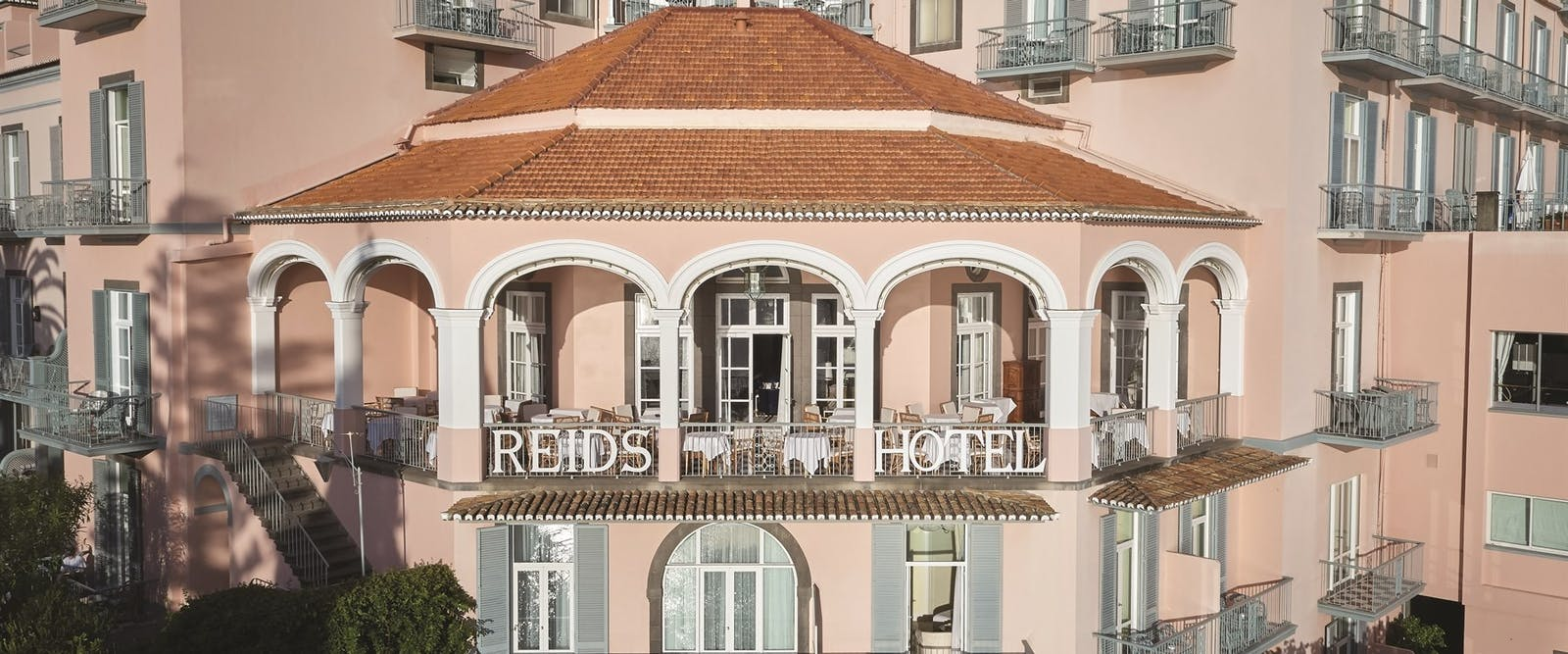 Front Entrance at Reid's Palace, A Belmond Hotel, Madeira, Portugal