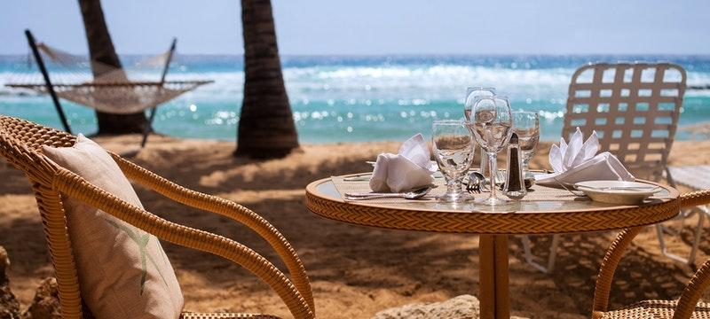 Dine next to the ocean at Reef Restaurant at Sugar Bay Barbados