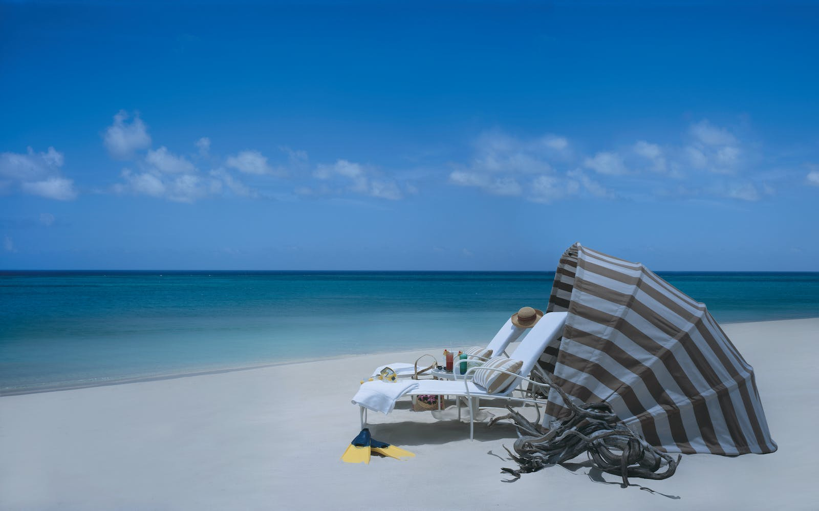 Relaxing on the beach at The Regent Palms Turks & Caicos