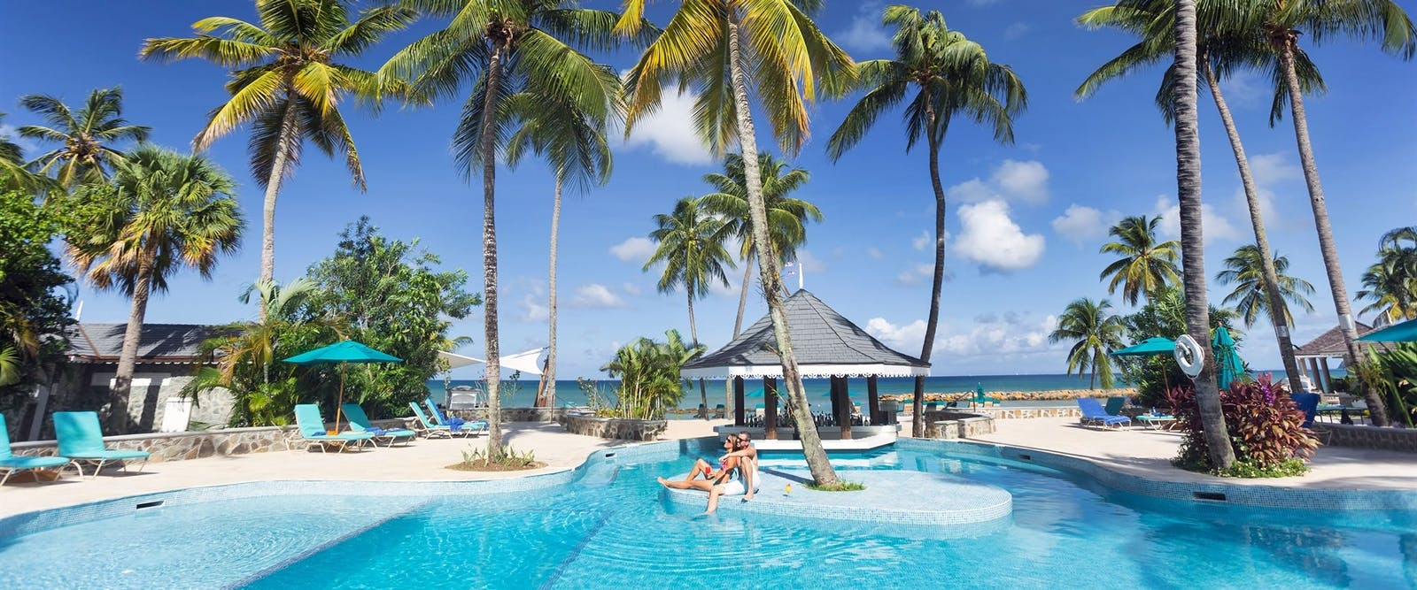 Main pool area overlooking the ocean at Rendezvous, St Lucia