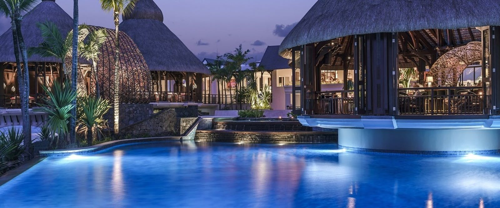 Pool in the evening at Shangri-La's Le Touessrok Resort & Spa
