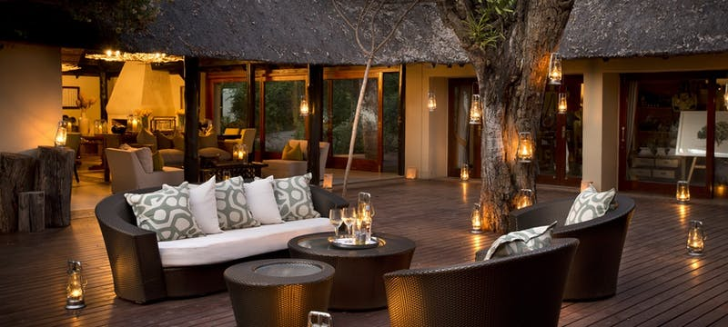 Terrace area at Lion Sands River Lodge, South Africa