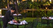 Garden dinign at Raffles Hotel le Royal, Cambodia