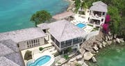 Stunning aerial view of Rock Cottage at Blue Waters, Antigua