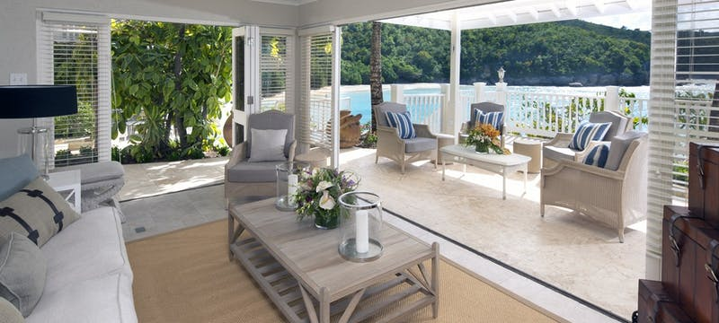 Lounge and terrace at Rock Cottage at Blue Waters, Antigua