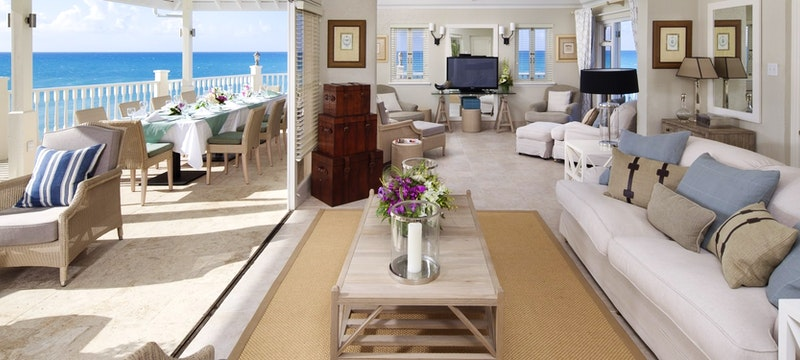 Luxurious lounge within Rock Cottage at Blue Waters, Antigua