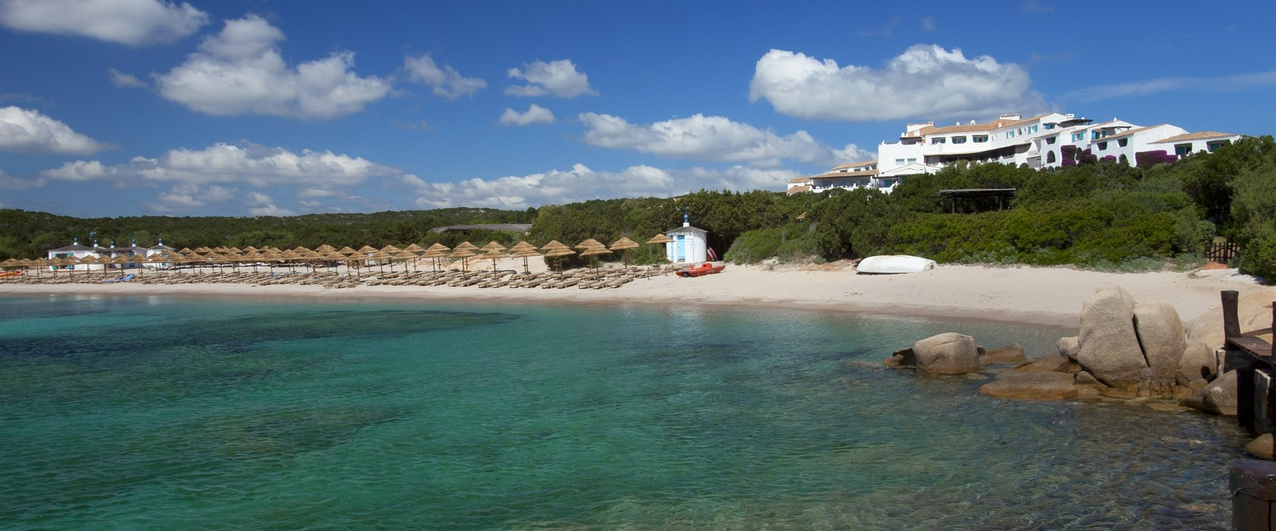 Private beach at Hotel Romazzino, Sardinia