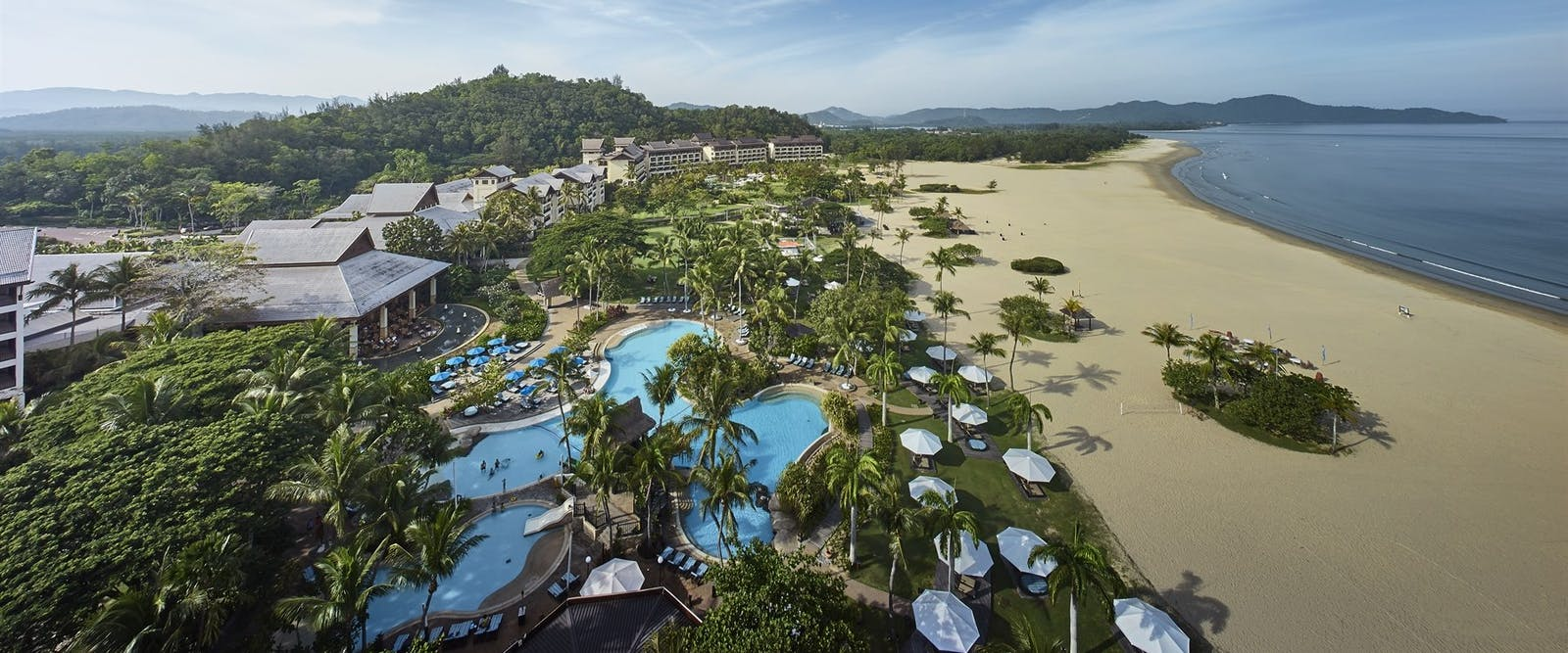 Aerial view of Shangri La Rasa Ria Resort, Borneo