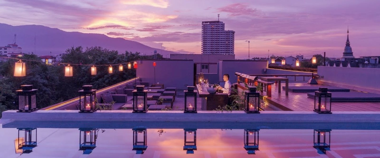 Rooftop bar at Sala Lanna Chiang Mai, Thailand