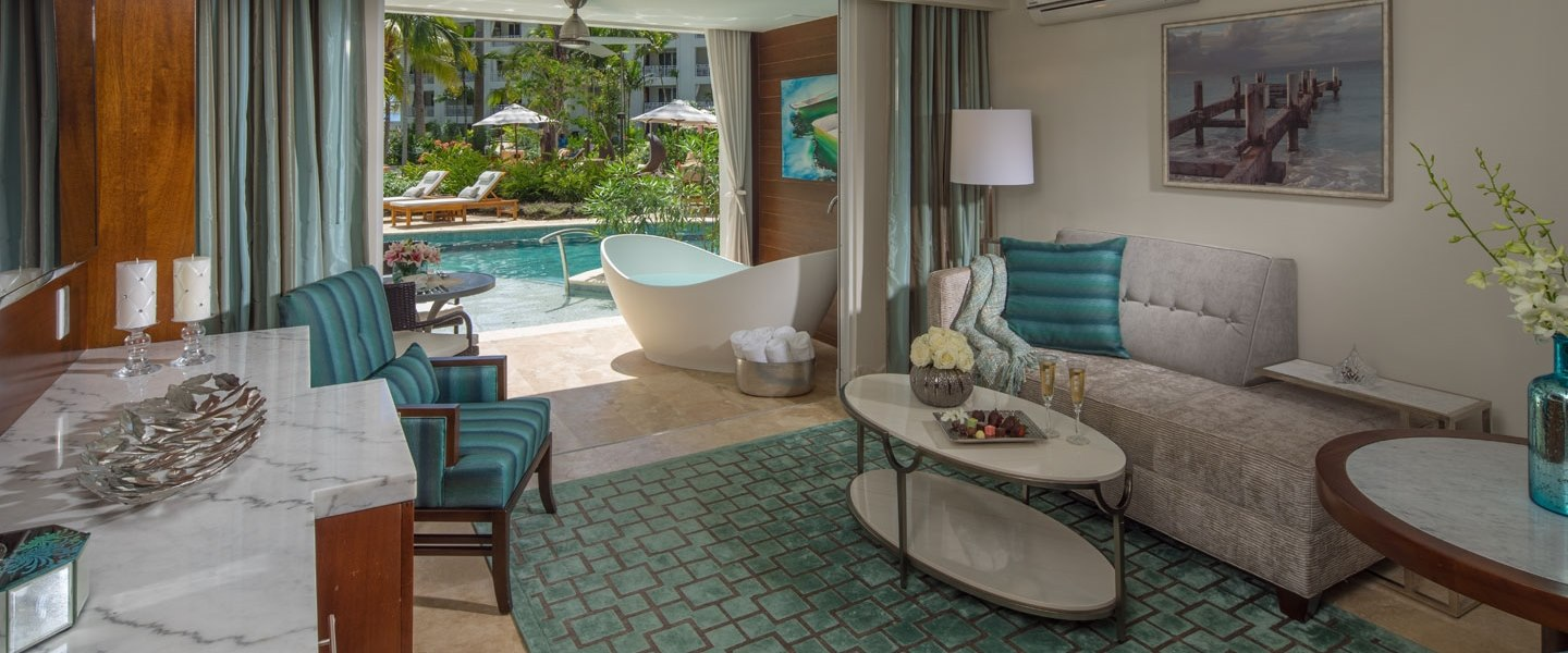 Swim Up Suite with Tranquility Soaking Tub at Sandals Barbados