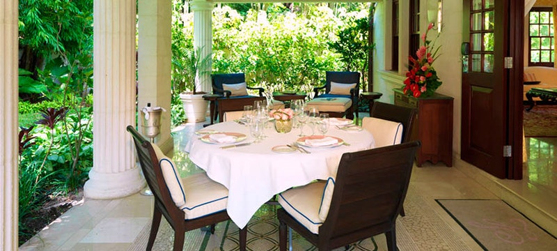 Outside dining at The Villa Sandy Lane, Barbados