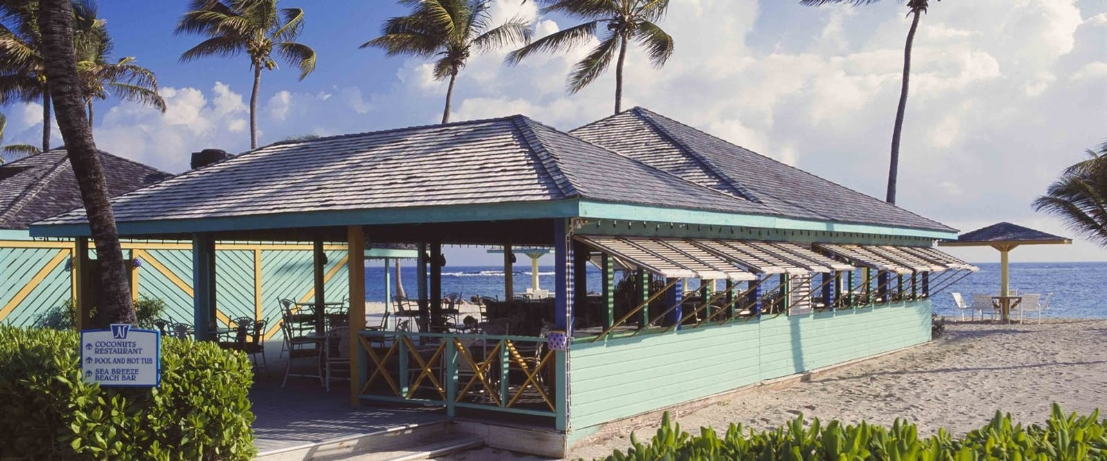 Ocean-side Sea Breeze Beach Bar at Nisbet Plantation Beach Club, Nevis